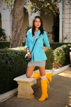 VIVALUXURY - FASHION BLOG BY ANNABELLE FLEUR: WALKING ON SUNSHINE J Crew Majesty peacoat | Juicy Couture Embellished stripe shift dress | Hunter Rain boots { also love the pink version here } | Free People slouch tall socks - old { also love these ones & these } | Gucci Soho leather disco bag | Vita Fede jewelry: mini titan crystal bracelet, original titan bracelet, ultra eclipse crystal midi ring, ultra mini titan crystal ring | Damsel x Gorjana high line triple cuff November 8, 2013