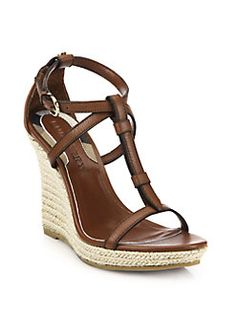 Burberry - Wedland Leather Wedge Espadrilles, own them in white, I am cruise ready!