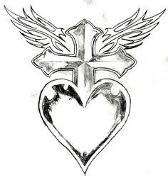 Cross Heart Wings Heart Drawing Cross Drawing Heart With Wings Tattoo