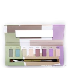 Sigma Beauty's everyday eye shadow palette called Flare includes: Crush, Oversee, Define, Publicize, Resist, Gossip, Allure and Beware colors. The palette also includes the E55 Eye Shading brush and E40 Tapered Blending brush