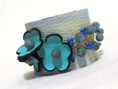 Leather turquoise color bracelet Leather  cuff by julishland, $16.00