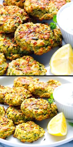 Oven Baked Zucchini And Feta Fritters – light, simple to make and very addictive. #zucchini #fritters