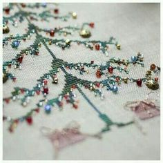 Cross stitch Christmas Tree with ornaments.