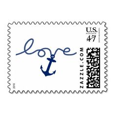 Nautical Tying the Knot Anchor Wedding Postage Stamp