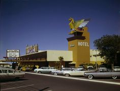 Thunderbird Hotel, Las Vegas Strip, c.1960. The photo is dated based on the cars: 1960 Corvair, 1959 Plymouth, 1958 Ford you can get chips from here at www.all-chips.com . Sunday  buffet brunch  with my parents was great every week. There was grass in front to the Strip. It's where I played my first one armed bandit!! Whoops ...underage sneak!