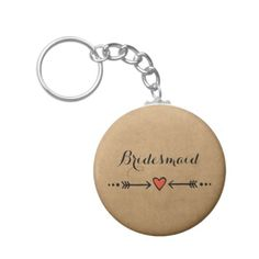 Pink Sweethearts & Arrows Rustic Bridesmaid's Gift Key Chain