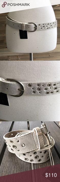 Donald J Pliner leather belt  NWT Silver leather belt size Large. Stunning!!! Donald J Pliner Accessories Belts