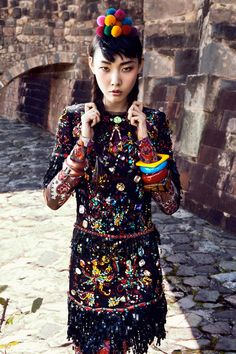 """""""Colors of Peru"""" fashion photography featuring Han Hye Jin in the July 2012 summer issue of Vogue Korea"""