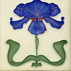 "Reproduction Art Nouveau Tile  - porteous nz - Tiles are aprox. 150mm x 150mm (6"" x 6"") or 150mm x 75mm (6"" x 3"")."