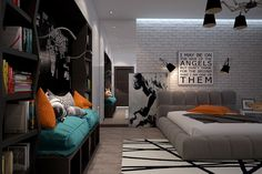 Modernes Jugendzimmer mit großem, gepolstertem Bett Modern youth room with large, upholstered bed Teen Room Designs, Boys Room Design, Girl Bedroom Designs, Bedroom Images, Funky Bedroom, Diy Bedroom, Brick Bedroom, Youth Rooms, Sophisticated Bedroom