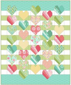 64 Ideas baby girl quilts patterns heart for 2019 Baby Boy Quilt Patterns, Heart Quilt Pattern, Baby Girl Quilts, Boy Quilts, Girls Quilts, Scrappy Quilts, Quilt Block Patterns, Quilt Blocks, Heart Quilts