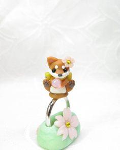 Petit Cute Doggy Ring Fimo Polymer Clay Swarovski by PetitPoem, ¥2500