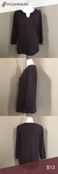 Lucky Brand Top Cute Lucky Brand 3/4 Sleeve Top. Perfect Condition. Brown. Size XL Lucky Brand Tops