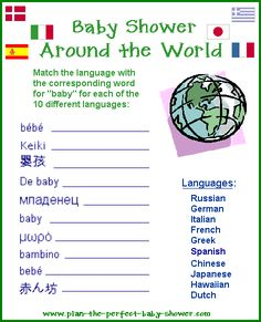 """#baby #shower #game: Baby shower around the world - how to say """"baby"""" in other languages // from www.plan-the-perfect-baby-shower.com"""