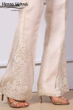 White organza trousers with diamanté embroidery. Please note delivery time is approximately weeks. There is no exchange Pakistani Dresses, Indian Dresses, Indian Outfits, Pakistani Fashion Casual, Muslim Fashion, Fashion Pants, Fashion Dresses, Pants For Women, Clothes For Women