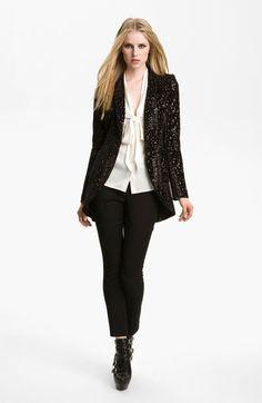 Rachel Zoe Black Kenny Jacquard Cutaway Jacket