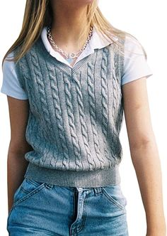 Sweater Vest Outfit, Vest Outfits, Cute Casual Outfits, Pantalon Large, Teen Fashion Outfits, Preppy Style, Aesthetic Clothes, Cable Knit, Stylish Clothes