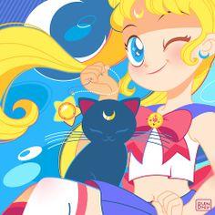 Sailor Moon and Luna by bonbon-bunny (bonbon-bunny.tumblr.com)