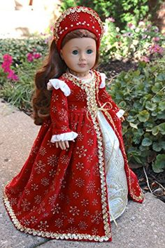 Queen Ann - Red velvet and gold royal gown, headdress, petticoat, shoes and jewelry.