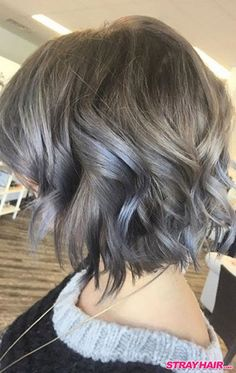 medium length wavy silver gray hair color