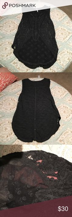 Free people dark grey lace tank size small Free people dark grey lace tank size small, I think i only wore it once but it has been washed regardless. The front lace is unlined and the back has a few buttons at the bottom 👍🏼 Free People Tops Tank Tops