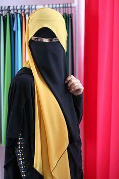 Bright yellow Niqab