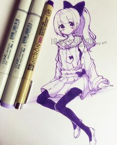 I really like using purple, but I'm afraid if I use it too much it will run out faster and even though I can replace it I tend to feel a weird emotional attachment to my favourite pens uwu Like if I get a new one I'm betraying my old one even if it has run out and I would feel bad having to throw it out ;-; #copic #micron #sketch: