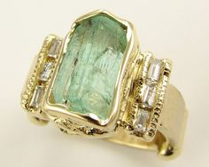 Green Beryl Artifact Ring in 18k gold by WexfordJewelers