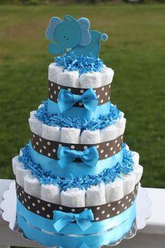 Brown and Blue Elephant Diaper Cake, 3 tier. $45.00, via Etsy.