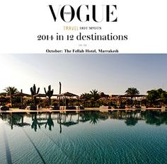 It's official Marrakech is our new favourite destination! Vogue clearly agrees as they featured our very own Fellah Hotel in Marrakech, Morocco in their Travel hotspots for 2014.  With its gastronomic restaurant, soothing spa, outdoor pool and collection of contemporary art the 5 star hotel combines Moroccan charm with modern touches.   http://www.slh.com/hotels/fellah-hotel/