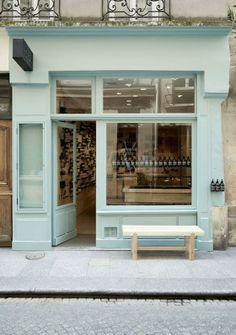 seafoam blue #storefront via pink wallpaper