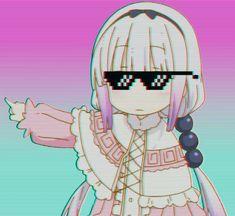 Bitch the door is that way Aesthetic Japan, Aesthetic Anime, Kawaii Anime Girl, Anime Art Girl, Dibujos Anime Chibi, Anime Meme Face, Kanna Kamui, Kobayashi San Chi No Maid Dragon, Miss Kobayashi's Dragon Maid