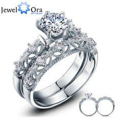 Aliexpress.com: Compre Conjuntos de acessórios de festa de luxo 925 prata branco Cubic Zirconia anéis para as mulheres ( JewelOra RI101613 ) de confiança leggings anel fornecedores em JewelOra