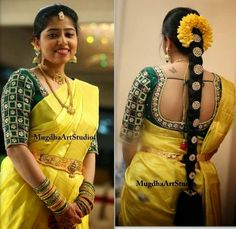 south indian bridal blouse back designs South Indian Blouse Designs, Kids Blouse Designs, Bridal Blouse Designs, Sari Blouse Designs, South Indian Bride Hairstyle, Indian Bridal Hairstyles, Saree Hairstyles, Bride Hairstyles, Lehenga Saree Design