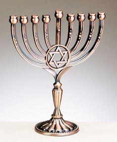 Star of David Menorah - Copper Finish Jewish Menorah, Hanukkah Menorah, Happy Hanukkah, Cultura Judaica, Arte Judaica, Messianic Judaism, Hanukkah Candles, Holocaust Memorial, Jewish Gifts