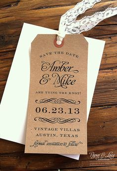 Save the Date Luggage Tag by paperandlaceaustin on Etsy, $2