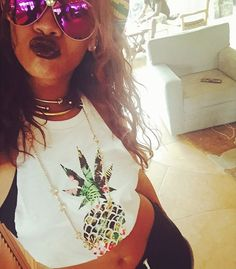 Rihanna in Digs Hawaii pineapple express weed t-shirt, Jennifer Fisher knot choker, ball choker and Stop It Right Now choker