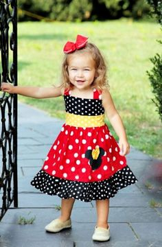 f26dba0cb2336 MInnie Mouse Dress Custom Boutique Clothing Small Red And Yellow dot Sassy Girl  dress