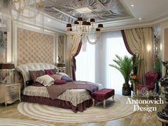 Спальня в стиле арт-деко - деревянный пол, стильный потолок, изящная люстра, зелень, светлые тона декора - здесь царит гармония и изысканность.