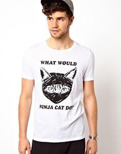 ASOS+T-Shirt+With+Ninja+Cat+Print