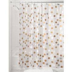 interdesign 183 x 183 cm metallic gilly dot shower curtain