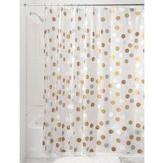 interdesign 183 x 183 cm metallic gilly dot shower curtain