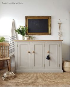 Beautiful farmhouse larder painted in Frenchic 'Salt of the Earth' by Painted Nursery Furniture, Paint Furniture, Furniture Makeover, French Chic Paint, Painted Wardrobe, Painted Sideboard, Upcycled Home Decor, Recycled Furniture, Living Furniture