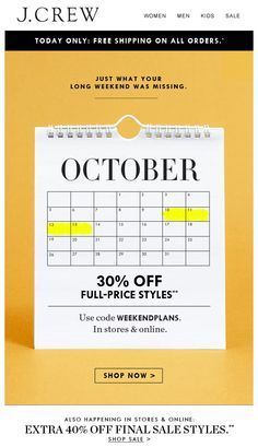 J.Crew Columbus Day Weekend Email