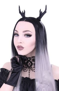 to all gothic and vamp loving fashionistas out there , if you want to find the stag to your bambi this accessory has got to rock it over the silly fluffy reindeer antlers everyone else wears at christmas, great item for the festive goth ball or new year club bash Restyle GOTHIC/ STEAMPUNK Horror Horns Headpiece Headband Black Deer Antlers