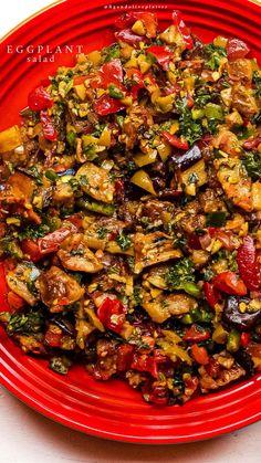 Healthy Salad Recipes, Veggie Recipes, Healthy Snacks, Vegetarian Recipes, Healthy Eating, Eggplant Recipes Pasta, Pasta Recipes, Diet Recipes, Cooking Recipes