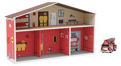 Estación y camión de bomberos. Juguetes creativos y ecológicos.