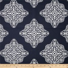 Terrasol Esperanza Medallion Navy/White from Screen printed on… Cafe Curtains, Custom Curtains, Fabric Shower Curtains, Drapery Fabric, Window Curtains, Blue And White Fabric, Navy Fabric, Ikat Fabric, Chair Fabric