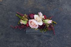 Flower Hair comb floral pink burgundy fairy by MagaelaAccessories