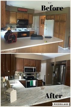Kitchen remodel! fantasy brown quartzite, stainless steel appliances, rustoleum cabinet transformations - toasted almond. Ta da!!